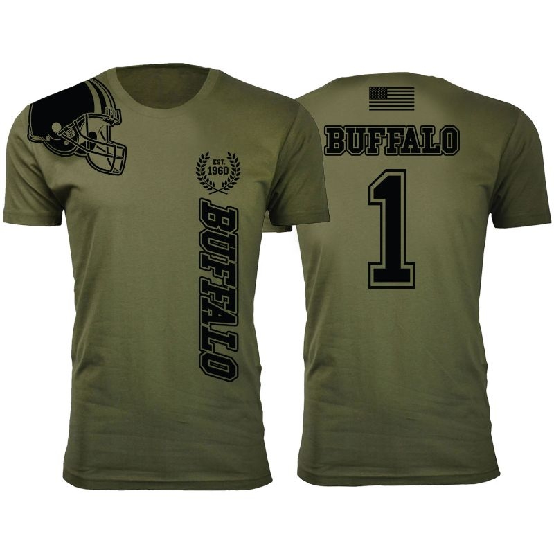 Men's Home of The Brave Football T-Shirts - Military Green with Black Print