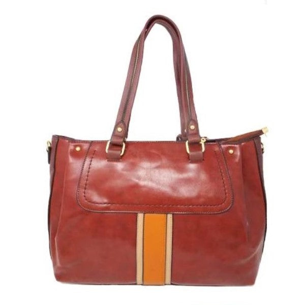 Vintage Striped Leather Tote Handbag-Coffee-Daily Steals