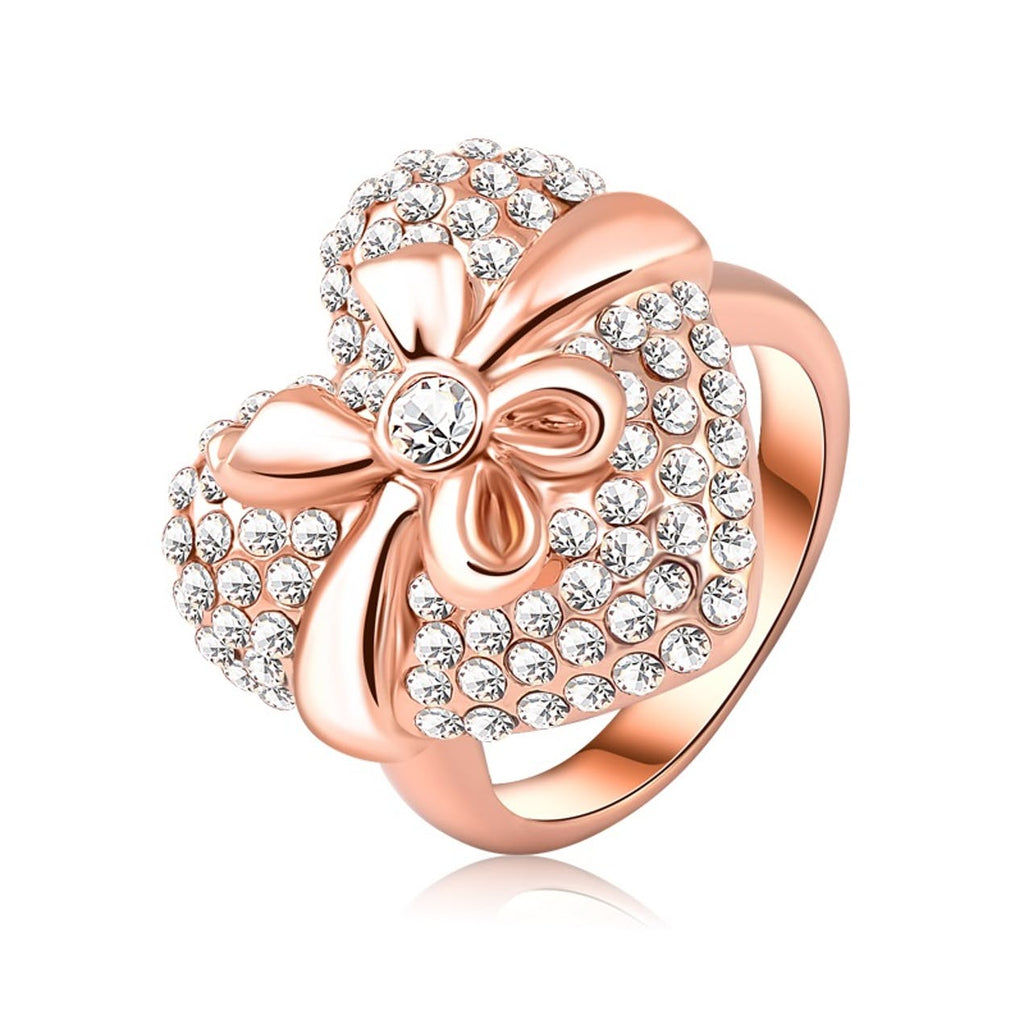 18kt Rose Gold Plated Crystal Heart With Bow Ring-Size 6-Daily Steals