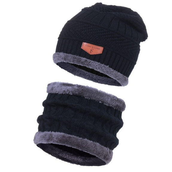 CC Chic Unisex Fleece Beanie + Scarf Set-Black-Daily Steals