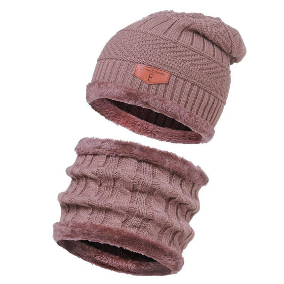 CC Chic Unisex Fleece Beanie + Scarf Set-Beige-Daily Steals