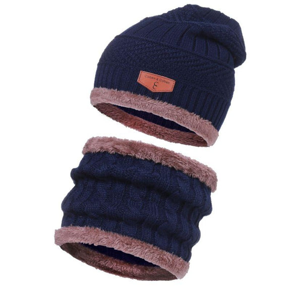 CC Chic Unisex Fleece Beanie + Scarf Set-Blue-Daily Steals