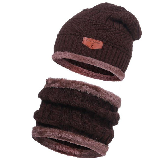 CC Chic Unisex Fleece Beanie + Scarf Set-Brown-Daily Steals