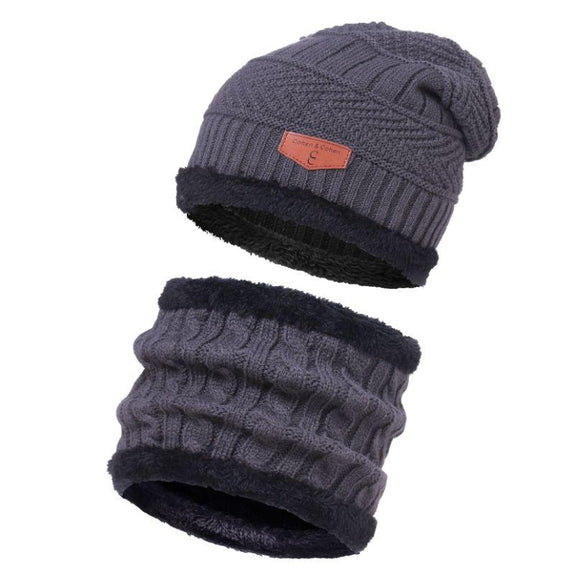 CC Chic Unisex Fleece Beanie + Scarf Set-Grey-Daily Steals