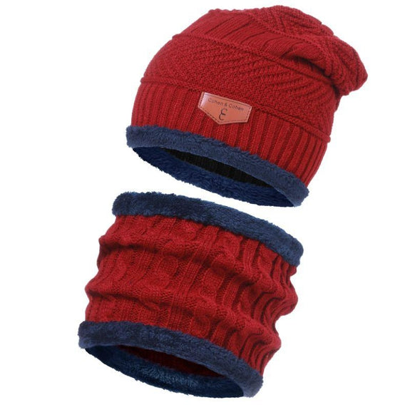 CC Chic Unisex Fleece Beanie + Scarf Set-Red-Daily Steals