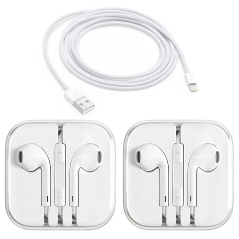 [2-Pack] Apple Original Earpods Earphones (3.5mm Jack) + Apple Original Lightning Cable-1 Meter Cable-Daily Steals