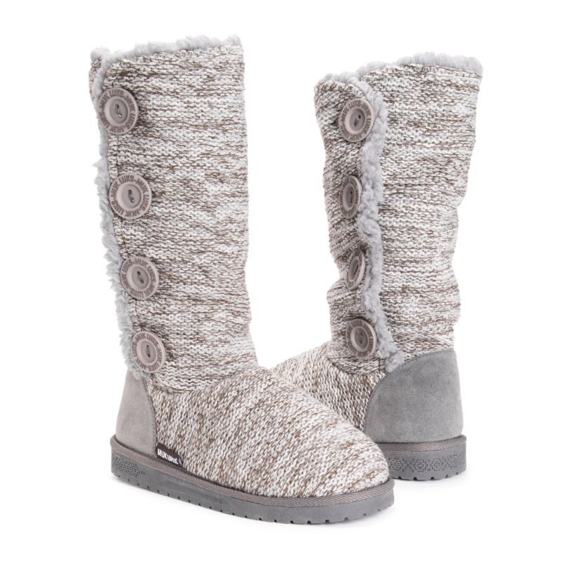 MUK LUKS Women's Liza Boots-Light Grey-6-Daily Steals