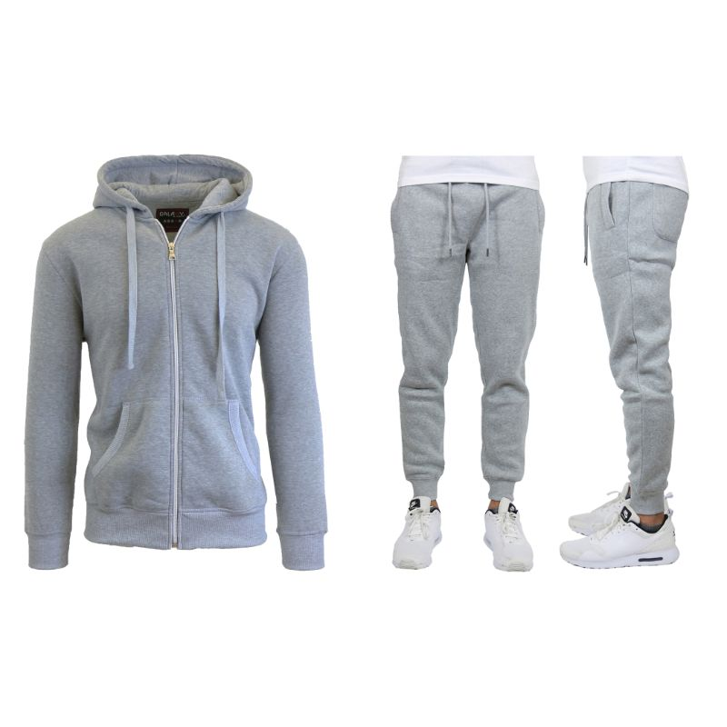 Men's Heavyweight Fleece Jogger and Heavyweight Fleece Hoodie Set-Heather Grey-S-Daily Steals