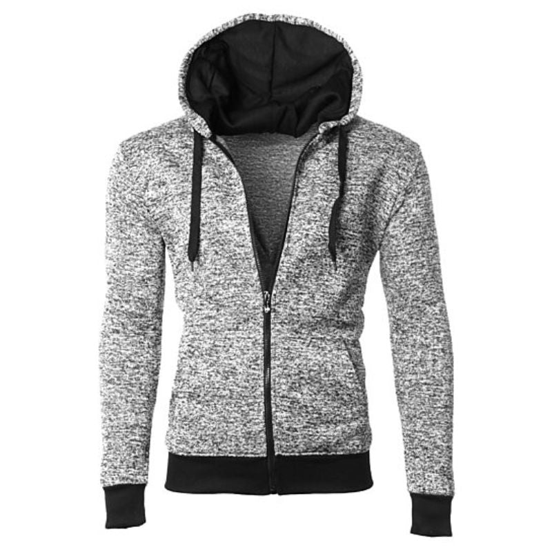 Men's Moisture Wicking Fleece-Lined Full-Zip Up Marled Hoodie-Grey-Small-Daily Steals