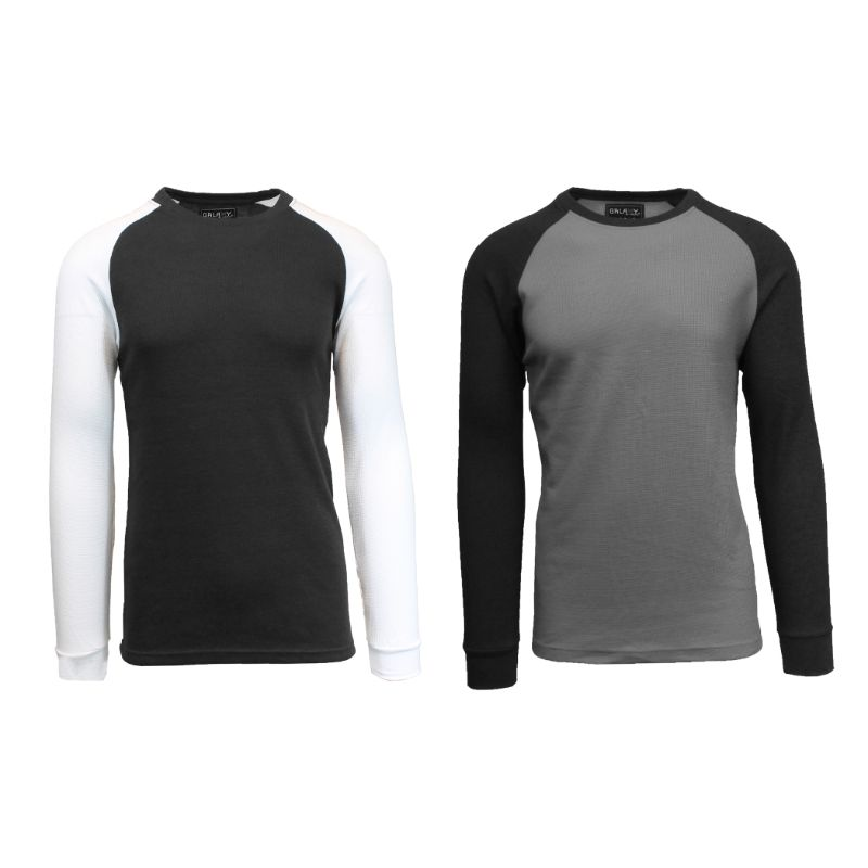 Men's Raglan Thermal Shirt - 2 Pack-Black/White & Charcoal/Black-Small-Daily Steals