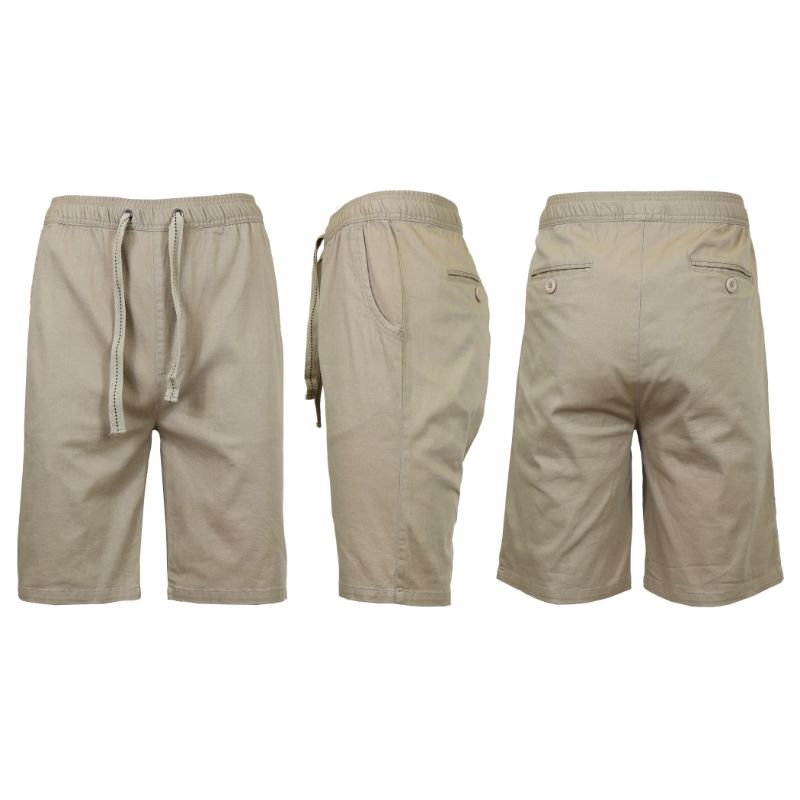 Men's Cotton Stretch Twill Jogger Shorts-Khaki-2XL-Daily Steals