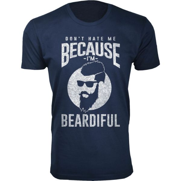 Men's 'Greatest Beard' T-shirts-S-Don't Hate Me Because I'm BEARDIFUL - Navy-Daily Steals