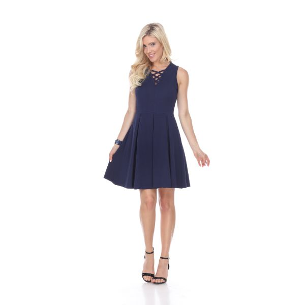 Shay' Fit & Flare Dress-Navy-S-Daily Steals