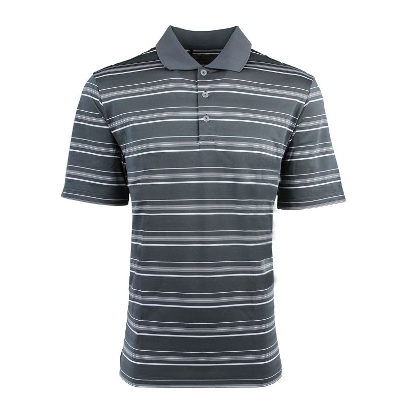 adidas Men's Puremotion Textured Stripe Polo-Lead/White-S-Daily Steals