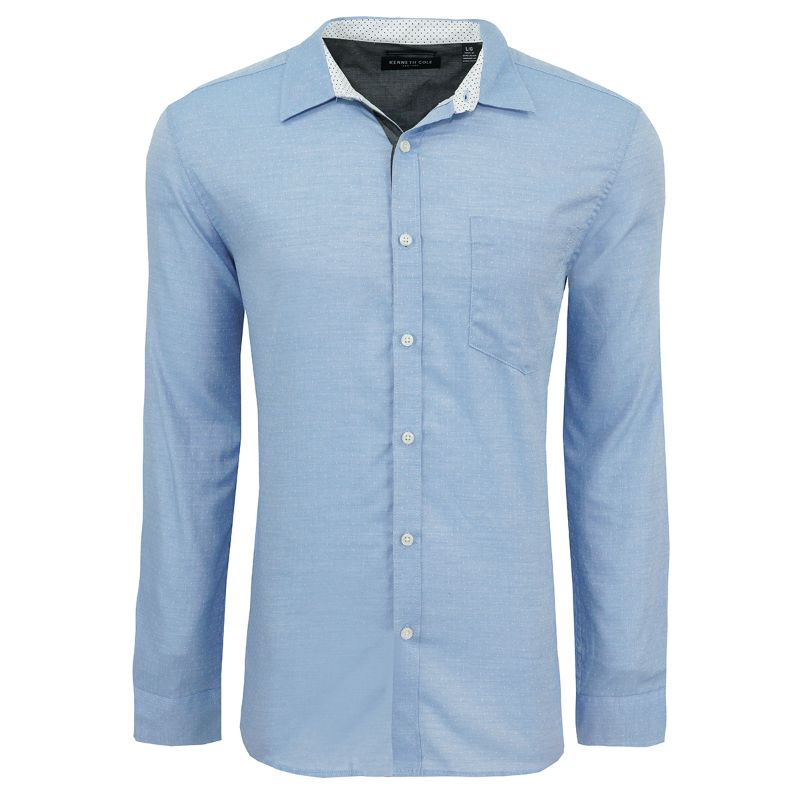 Kenneth Cole Men's Button Up Dobby Dot Dress Shirts-City Blue-L-Daily Steals