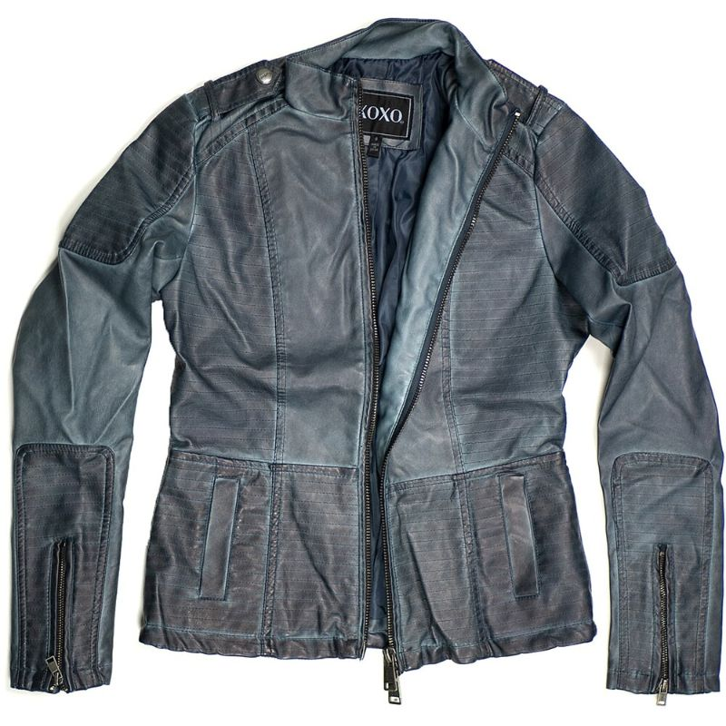 Women's Motorcycle Faux Leather Jacket Quilted Lining Zip Up-Blue-L-Daily Steals