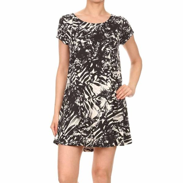 Women's Short Sleeve Summer Tunic Dress-Black & White Tropical Print-Small-Daily Steals