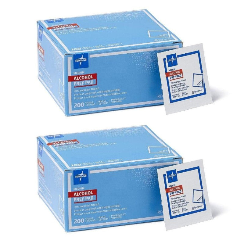 Medline Sterile Medium Prep Pads 70% Isopropyl Alcohol - 200 Count - 2 Pack-Daily Steals