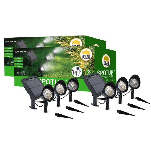 Touch Of ECO 3-in-1 Solar-Powered Spotlight Set - 1, 2, or 3 Pack-2 Set-Daily Steals