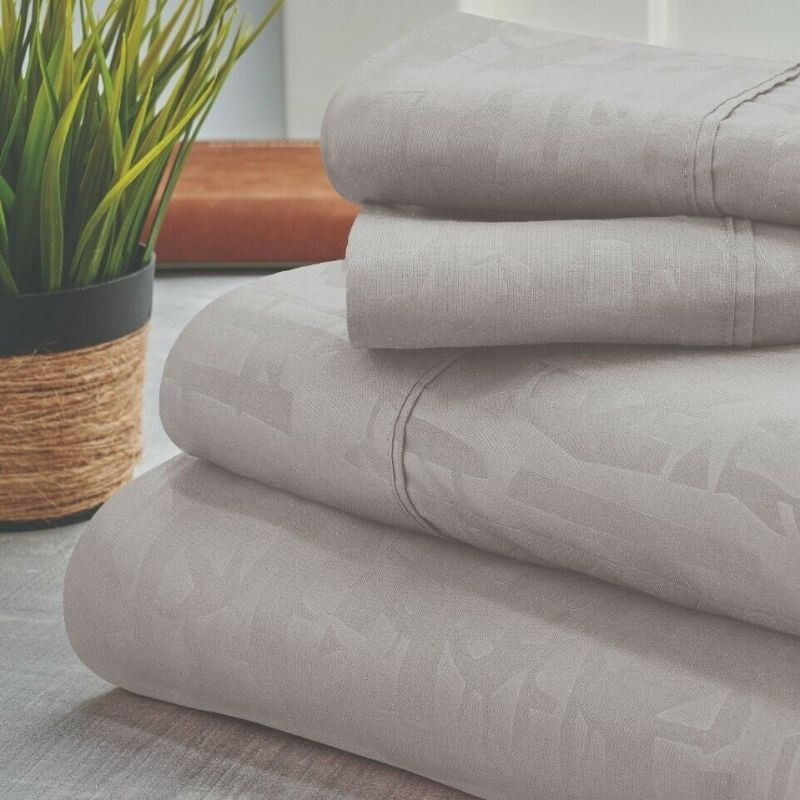 Bamboo 1800 Count Embossed Design 4-Piece Sheet Set-Silver-Twin-Daily Steals