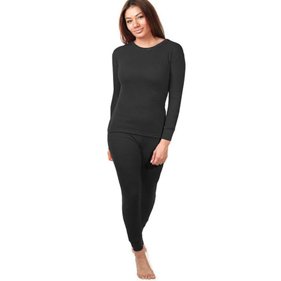 2-Piece Women's Super Soft 100% Cotton Thermal Set (S-2X)-Black-Small-Daily Steals