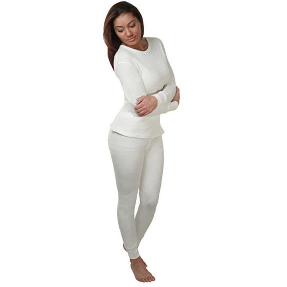 2-Piece Women's Super Soft 100% Cotton Thermal Set (S-2X)-White-Small-Daily Steals