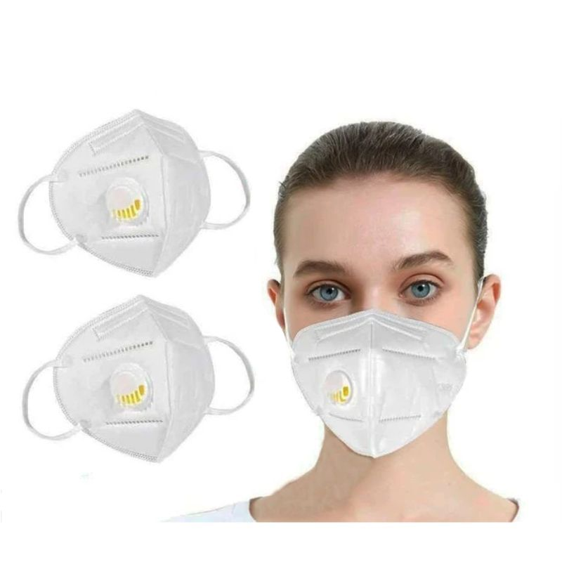 KN95 White Disposable Face Masks with Flow Exhalation Valve - 2, 6, 10, 20 Pack