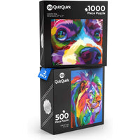 QuizQuirk Colorful Lion 500 Piece and Colorful Dog 1000 Piece Puzzle for Adults