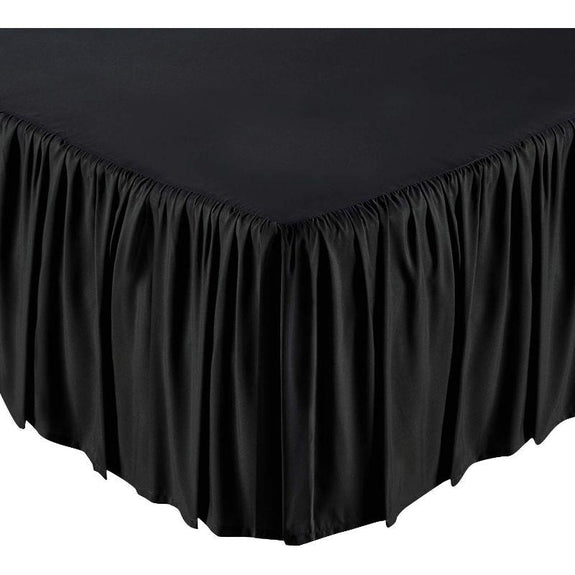 100% Ultra-Plush Microfiber Bed Skirt-Black-Ruffle-Full-Daily Steals