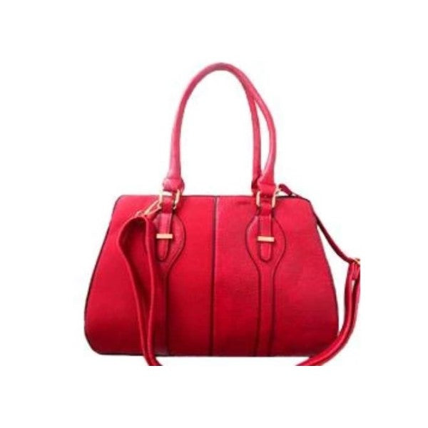 Two Tone Satchel Leather Handbag-Red-Daily Steals
