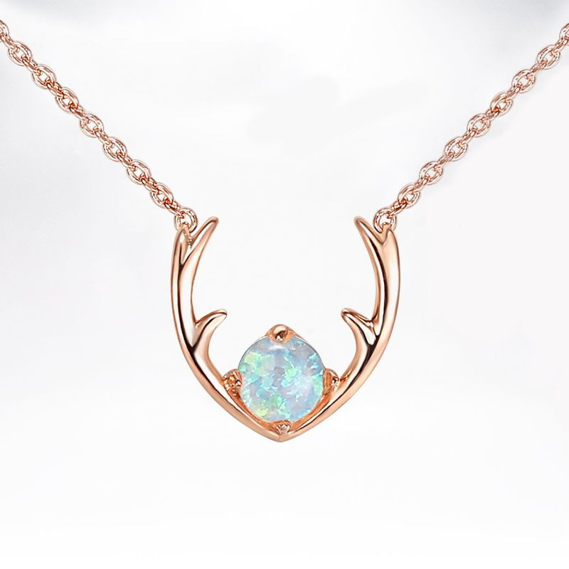 1.0 Ct Opal Created Antlers Pendant Necklace Made with Swarovski Crystals-Rose Gold-Daily Steals