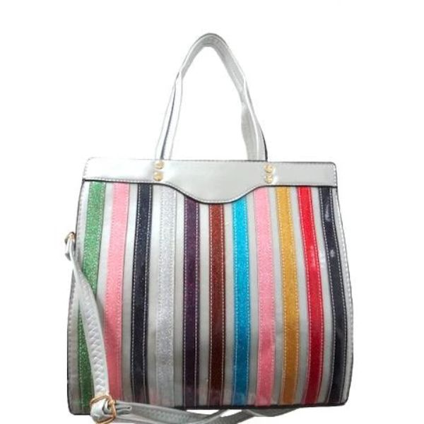 Colorful Stripe Satchel Handbag-Silver-Daily Steals