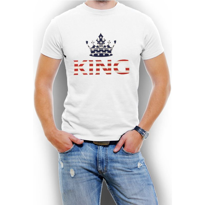 "USA Stars and Stripes ""King"" Men's T-Shirt-White-4XL-Daily Steals"