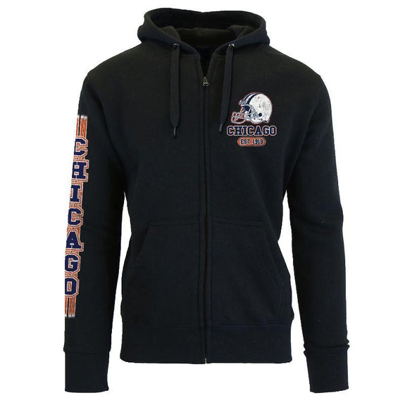 Women's Game Day Football Zip Up Hoodie-Chicago - Black-S-Daily Steals