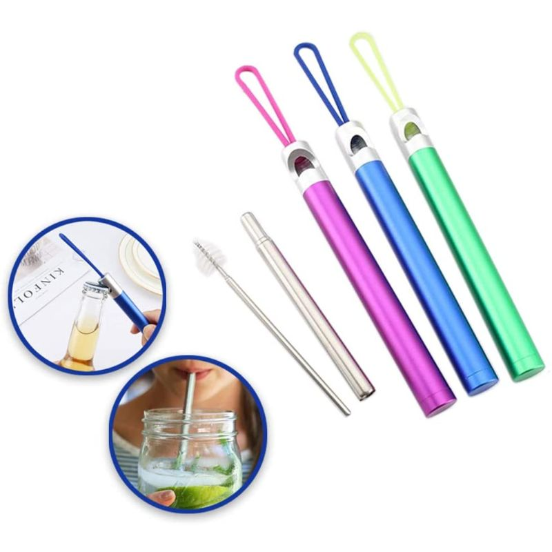 Stainless Steel Collapsible Reusable Straw with Bottle Opener - 3 Pack-Daily Steals