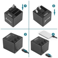 3 Pack Artman GoPro Hero 5/6/7 Batteries and 3-Channel Charger-