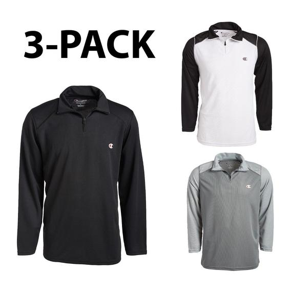Daily Steals- [3-Pack] Champion 1/4 Zip Sport Performance Pullover Jacket-Men's Apparel-S-