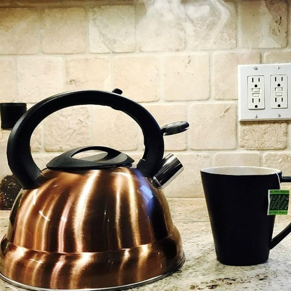 3 Quart Whistling Tea Kettle - Brush Copper Finish-Daily Steals