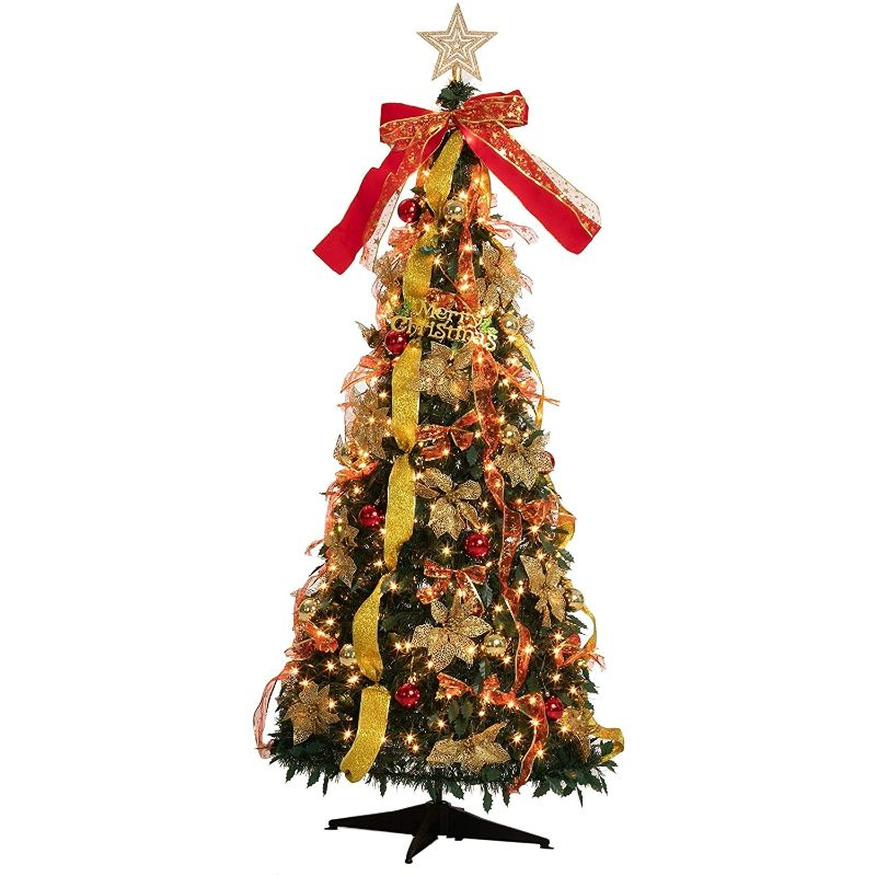 6 Foot Pull Up Christmas Tree with 350 Lights and Accessories