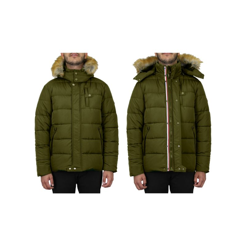 Men's Heavyweight Jacket With Detachable Hood-Dark Olive-Medium-Daily Steals