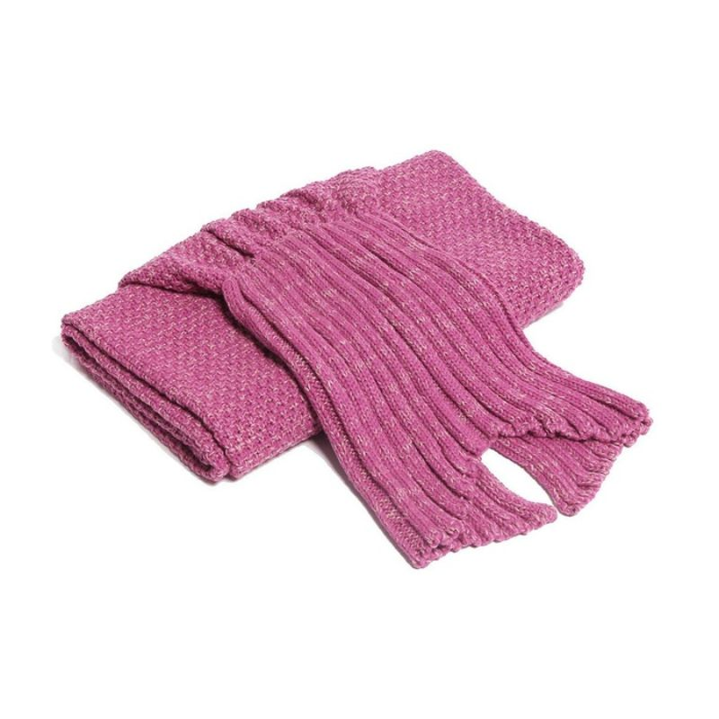 Mermaid Tail Knit Crochet Warm & Soft Blanket for Kids and Adults-Adults-Fuchsia-Daily Steals