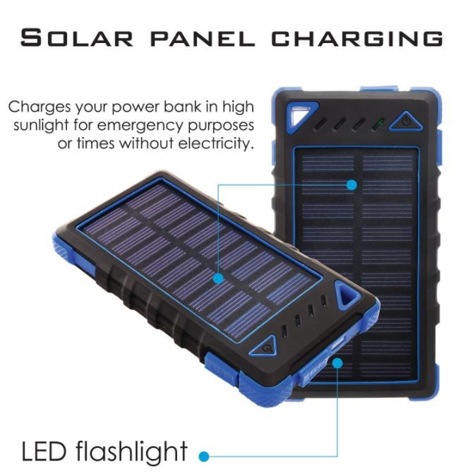 Ultra-Compact High-Speed 8,000mAh Portable Solar Smartphone Charger with LED Flashlight-Daily Steals