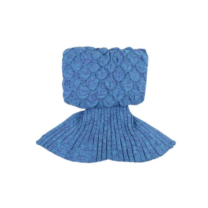 Mermaid Tail Knit Crochet Warm & Soft Blanket for Kids and Adults-Adults-Blue/Purple-Daily Steals