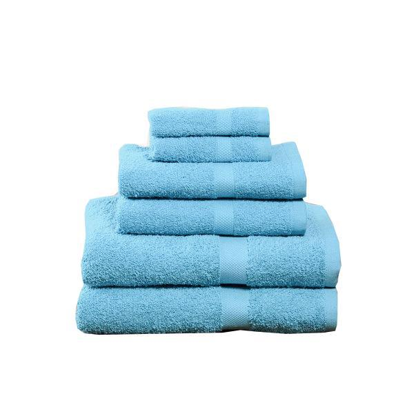 Residence Hall 100% Ringspun Cotton Hotel-Quality Towels - Assorted Colors - 6 Piece Set-Aqua-Daily Steals