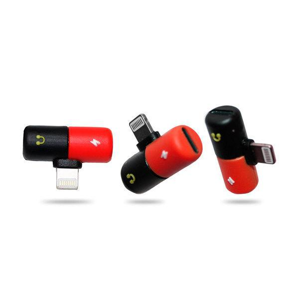 Ztech 2-in-1 Audio & Charging Adapter for Lightning® Devices-Red and Black-Pill-Daily Steals