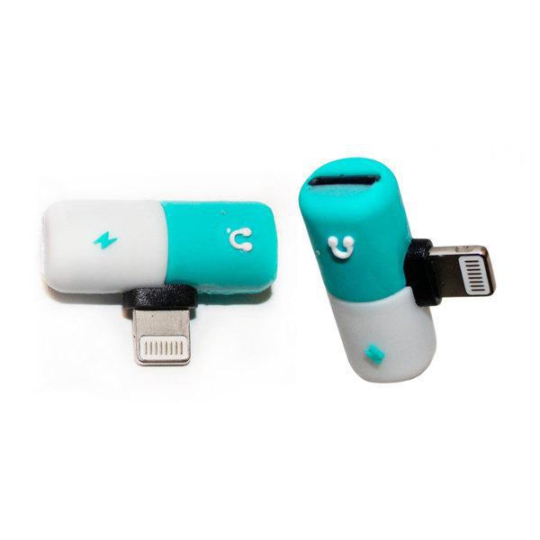 Ztech 2-in-1 Audio & Charging Adapter for Lightning® Devices-Blue and White-Pill-Daily Steals