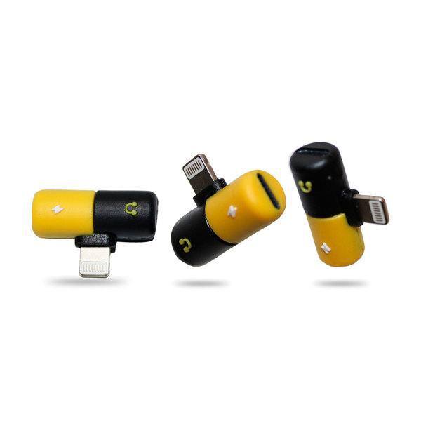 Ztech 2-in-1 Audio & Charging Adapter for Lightning® Devices-Yellow and Black-Pill-Daily Steals