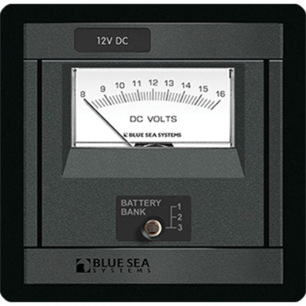 Daily Steals-360 DC Analog Voltmeter, 8-16V w/ Panel By Blue Sea Systems-Marine-