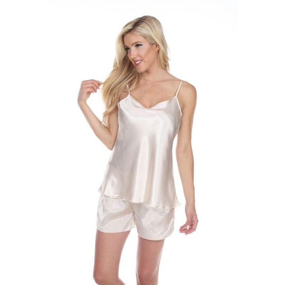 Satin Cami And Shorts Pajama Set-Beige-L-Daily Steals