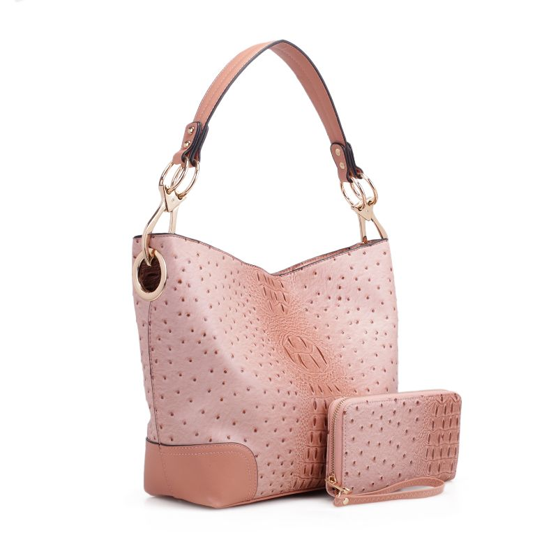 MKF Collection Wandy Hobo Handbag et assorti Wallet-Blush-Daily Steals